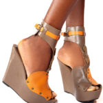 Gold Embellishment Ankle Strap Wedge Shoes