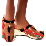Gold And Beads Embellishment Clog Shoes
