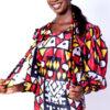 Mikoko Print Silk Bow Collar Shirt & Pencil Skirt