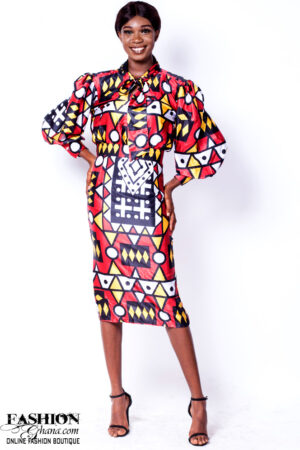 Mikoko Print Silk Bow Collar Shirt & Pencil Skirt