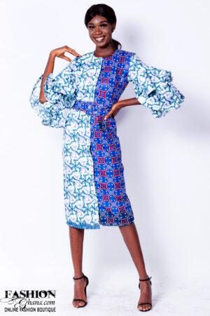 African Print Layered Sleeve Sheath Dress