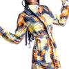 Mikoko Print Chiffon Long Sleeves Shirt Dress