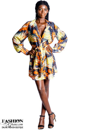 Mikoko Print Chiffon Long Sleeves Shirt Dress