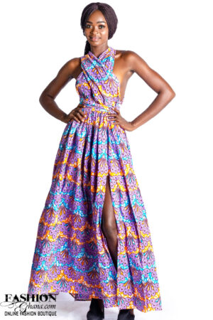African Print Multiway Convertible Maxi Dress With Slit