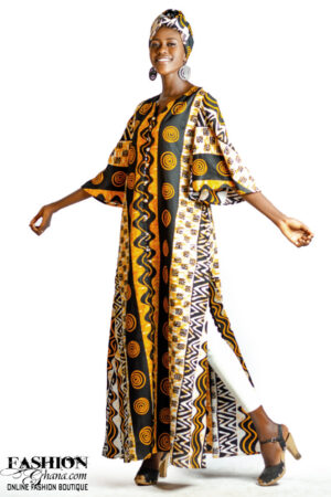 Double Side Slit African Print Kaftan